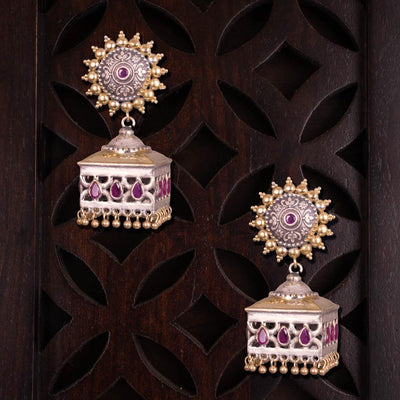 Dual tone square embellished earrings