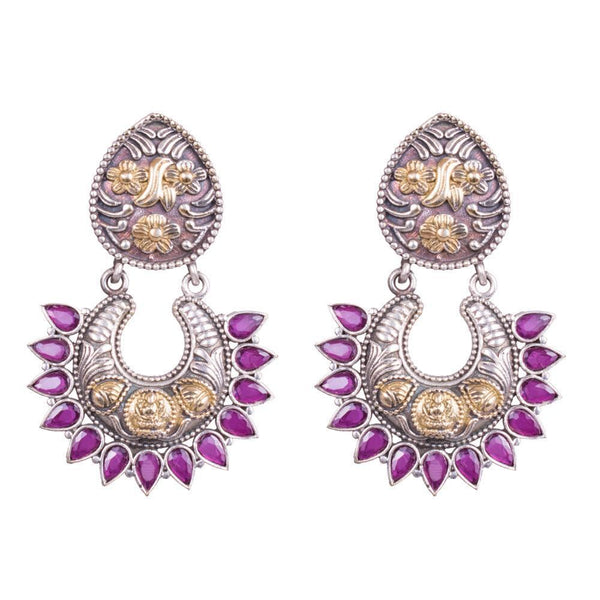 Carved Ruby Stone Chandbali Earring