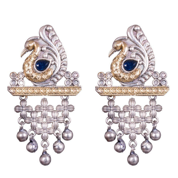 Peacock Dual Tone Statement Earrings