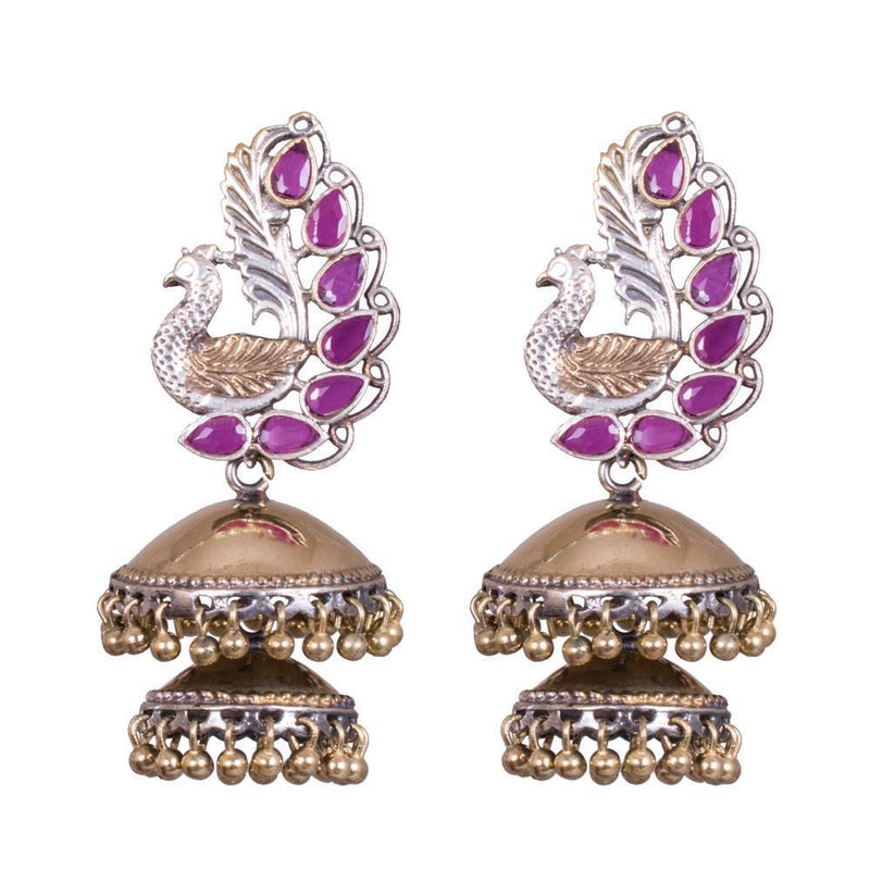 Stylish Peacock Dual Tone Jhumka Earrings
