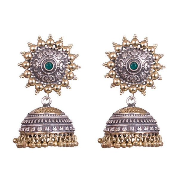 Chunky Dual Toned Carved Jhumka Earrings