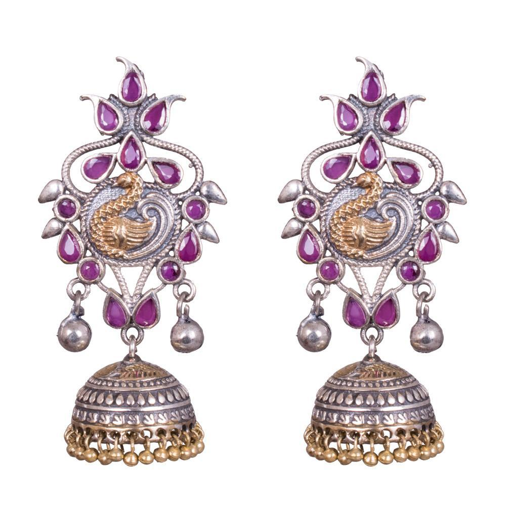 Traditional peacock ruby earrings