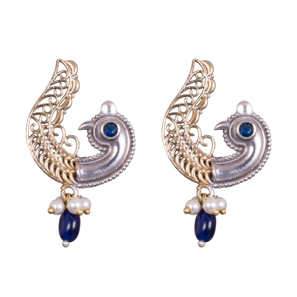 Peacock dual tone earrings