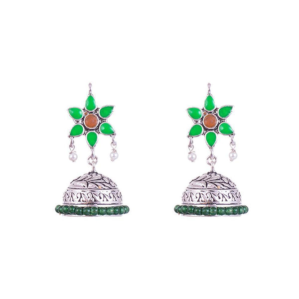 Dual Stone Oxidized Star Shaped Jhumkas