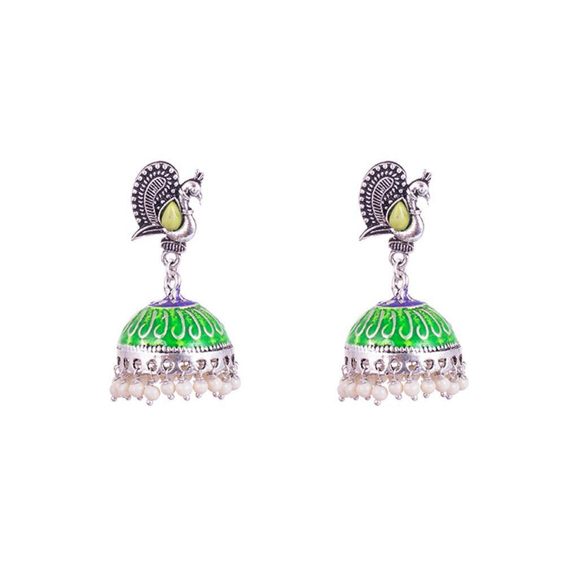 Green Painted And Peacock Design Jhumkas