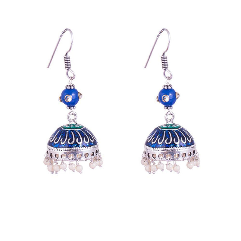 Blue Painted Silver Finish Jhumkas
