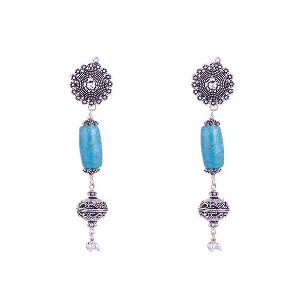 Turquoise Beaded Silver Plated Earrings