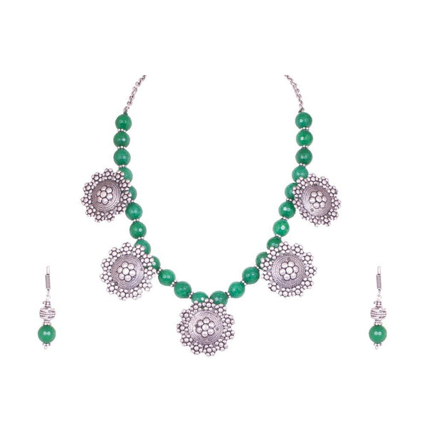 Silver Polish Green Crystal Beaded Necklace