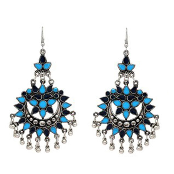 Bold Blue And Black Stone Earrings