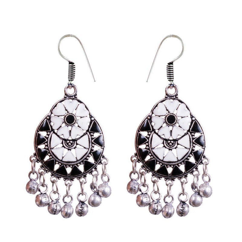 White And Black Painted Embellished Earrings