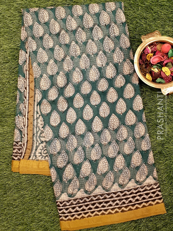 Kota Doria saree green and mustard with all over prints