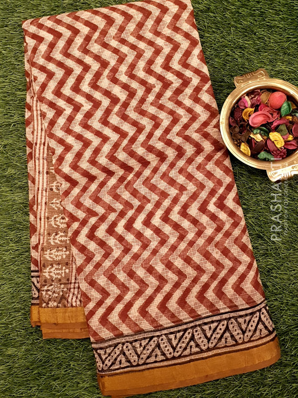 Kota Doria saree off white and maroon with zig zag prints