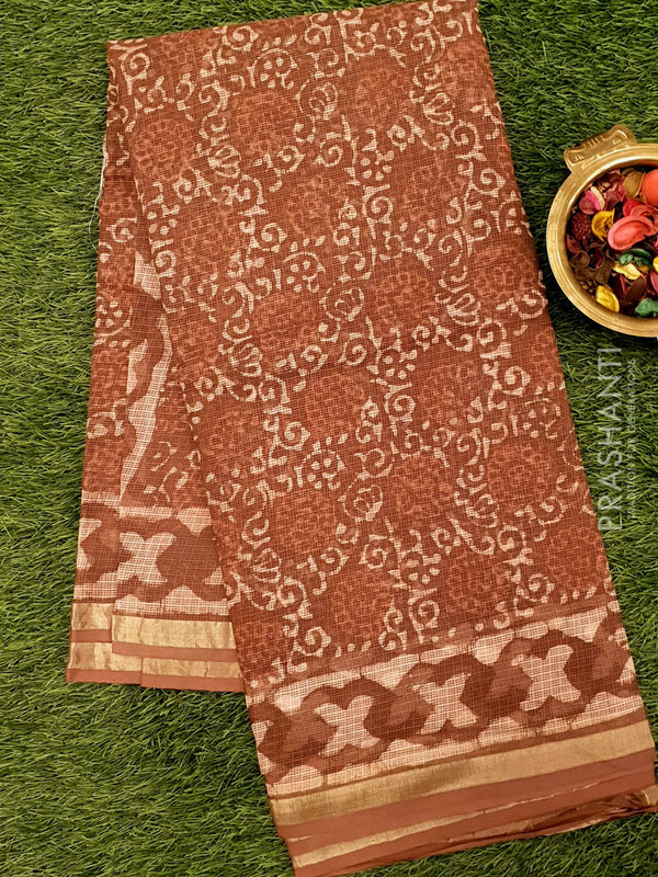 Kota Doria saree brown with all over floral prints