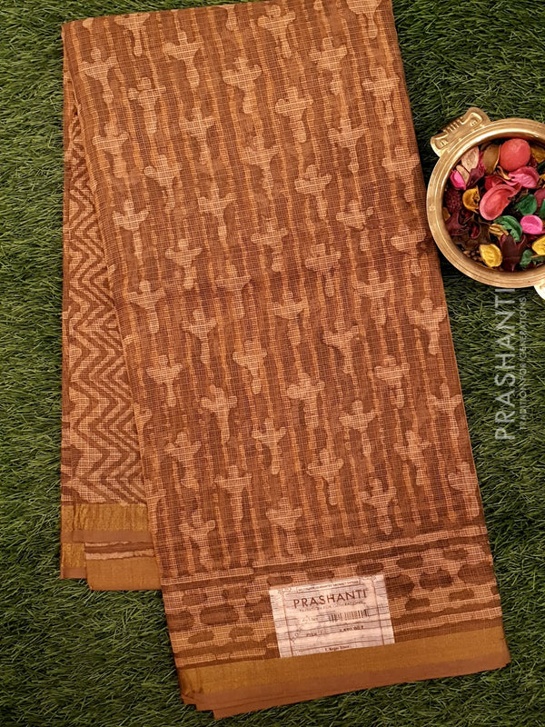 Kota Doria saree brown with simple zari border and all over prints