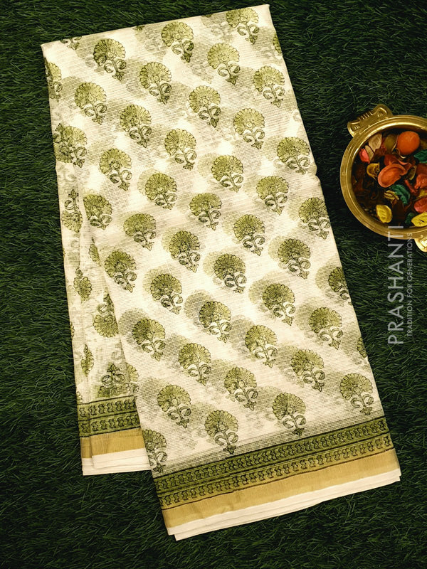 Kota Doria saree white with floral prints