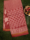 Kota Doria saree maroon with all over prints