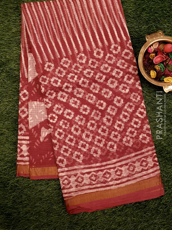 Kota Doria saree maroon with all over prints for Rs.Rs. 1690.00 | Cotton Sarees by Prashanti Sarees