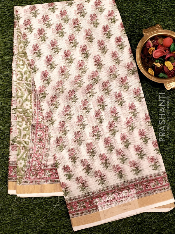 Kota Doria saree white with all over floral prints