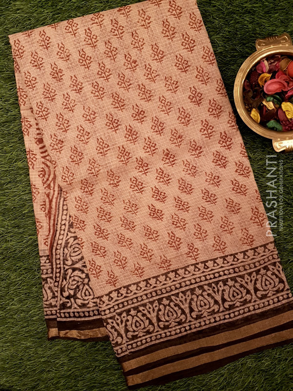 Kota Doria saree beige and brown with floral buttas and floral printed border