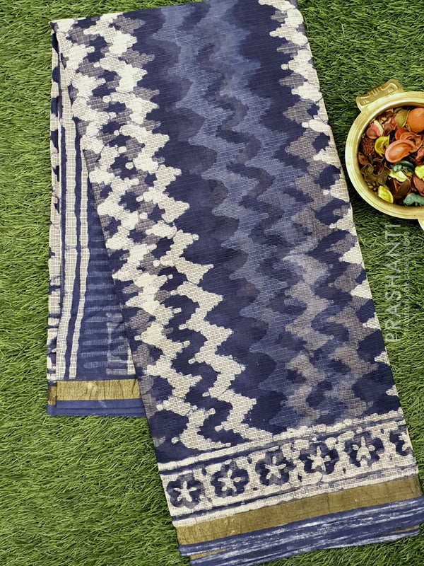 Kota Doria saree indigo with zig zag prints