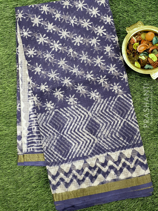 Kota Doria saree indigo with all over prints