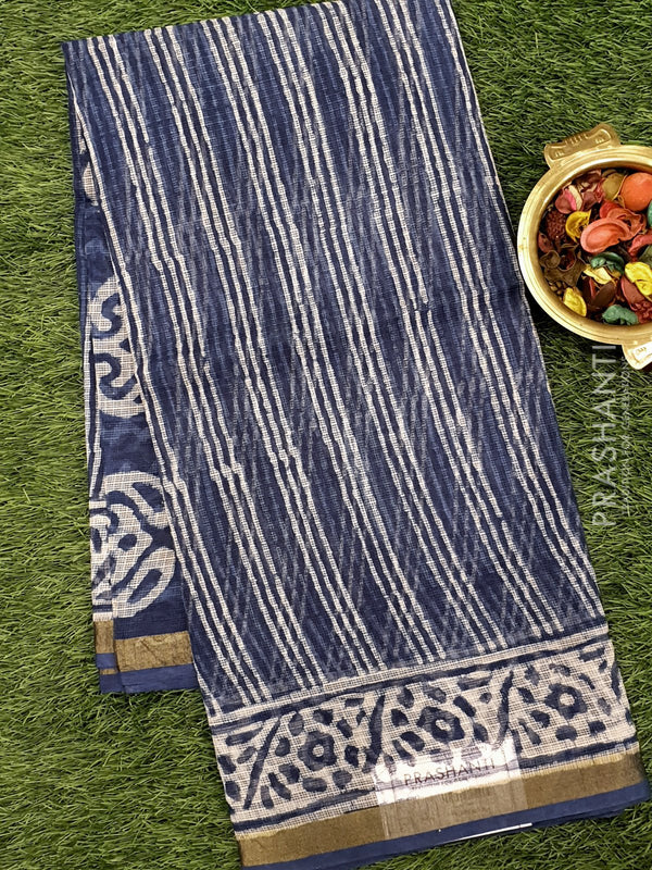 Kota Doria saree indigo with vertical stripes and floral border for Rs.Rs. 1690.00 | Cotton Sarees by Prashanti Sarees
