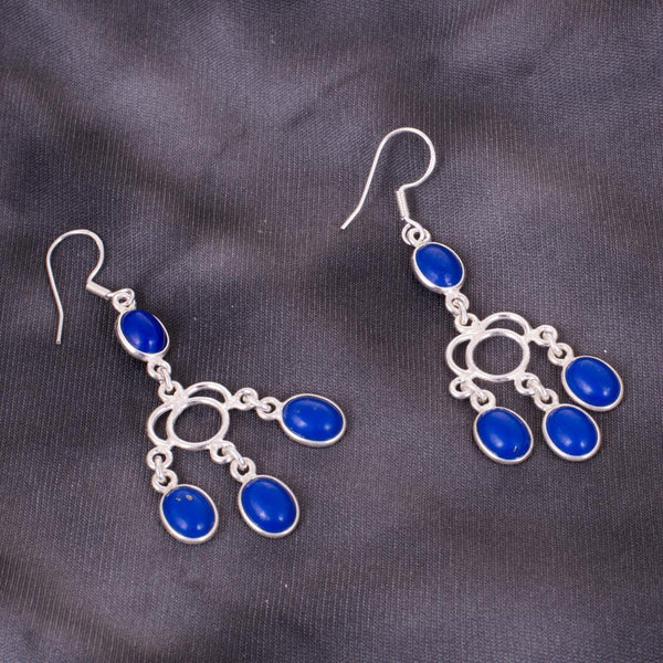 Unique Electric Blue Silver Earrings