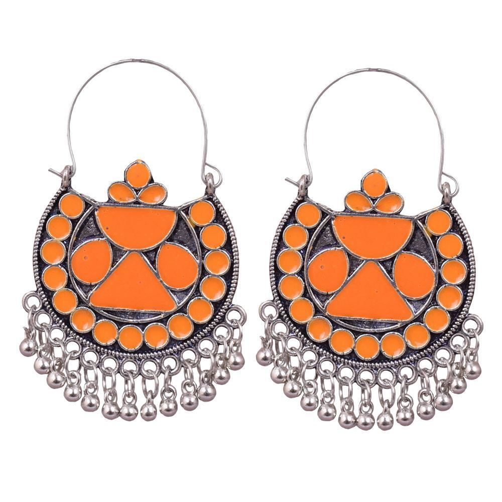 Orange dangling bead earrings