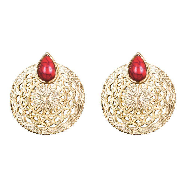 Circular Style Red Stone Earrings