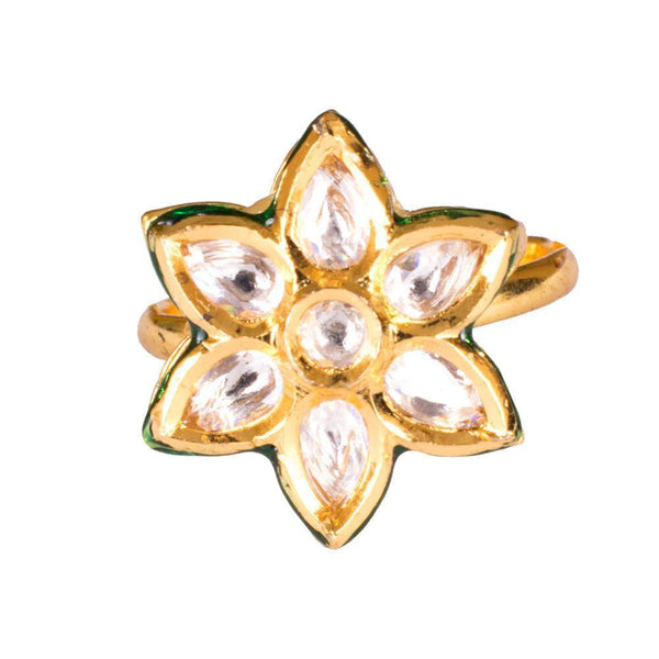 Glittery Kundan Stone Gold Finger Ring