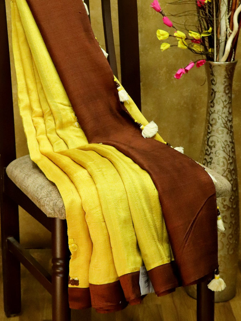 Pure Linen sarees yellow and brown with tree embroidery