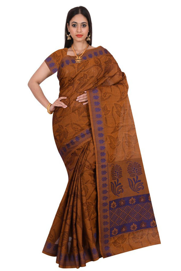 coimbatore Cotton Saree - Brown