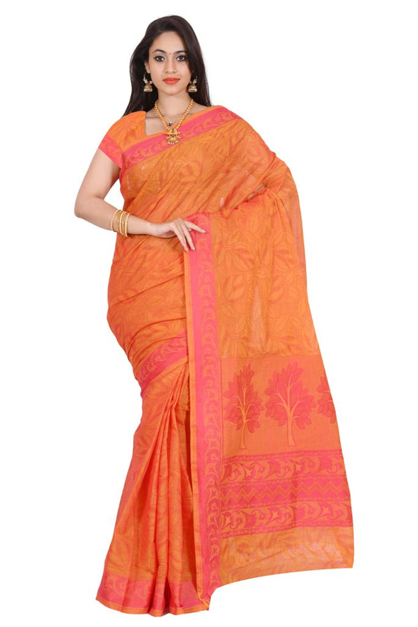 coimbatore Cotton Saree - Orange for Rs.Rs. 1859.00 | Cotton Sarees by Prashanti Sarees