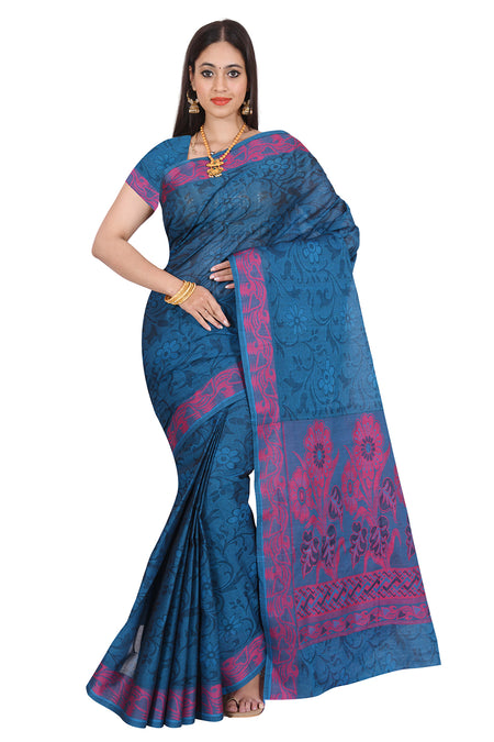 Coimbatore Cotton Saree Blue and Pink with Floral border for Rs.Rs. 1860.00 | Cotton Sarees by Prashanti Sarees
