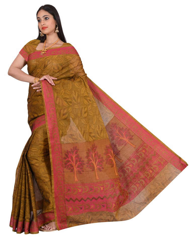 coimbatore Cotton Saree - Brown for Rs.Rs. 1859.00 | Cotton Sarees by Prashanti Sarees