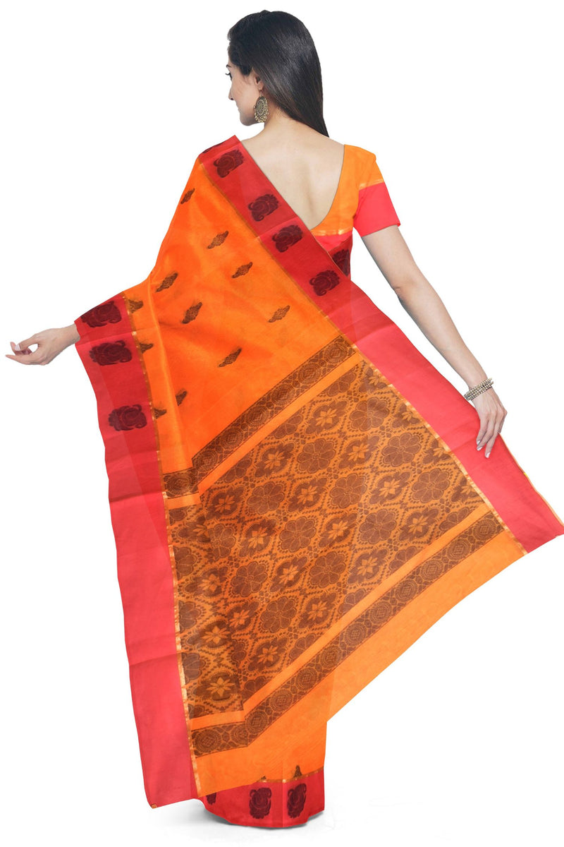 Coimbatore Cotton Butta Saree - Orange