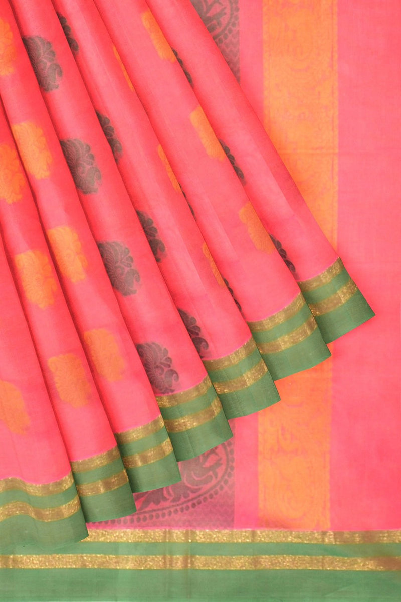Coimbatore Cotton Butta Saree - Dark Orange