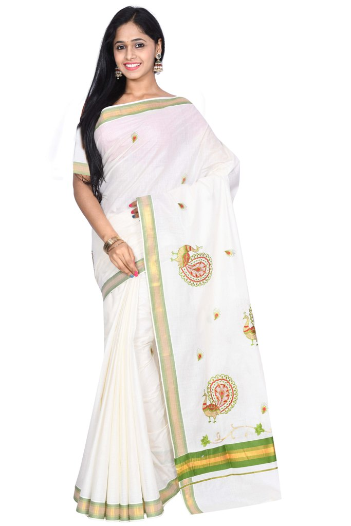 coimbatore Cotton Saree - White and Green for Rs.Rs. 1099.00 | Cotton Sarees by Prashanti Sarees