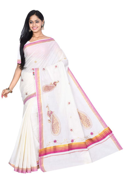 coimbatore Cotton Saree - White