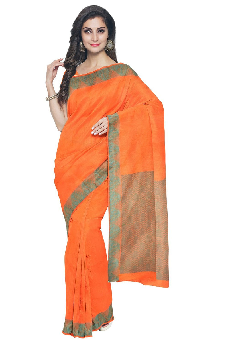 Coimbatore Cotton Emboss Saree - Orange