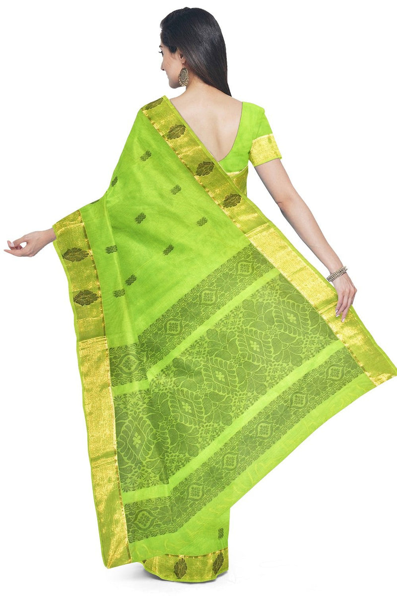 Coimbatore Cotton Butta Saree - Green