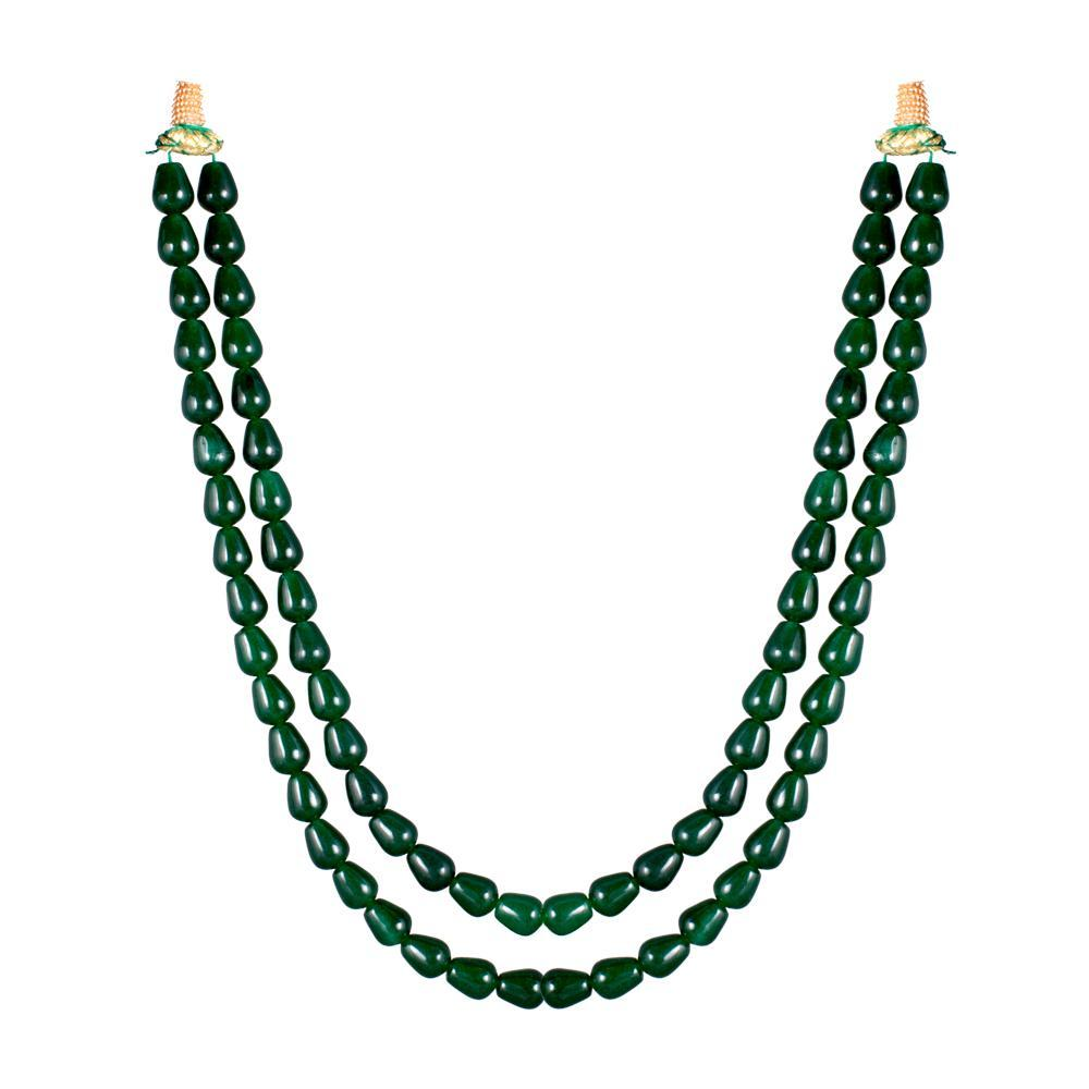 Dual Layered Jade Necklace for Rs.Rs. 850.00 | Beads & Pearls by Prashanti Sarees