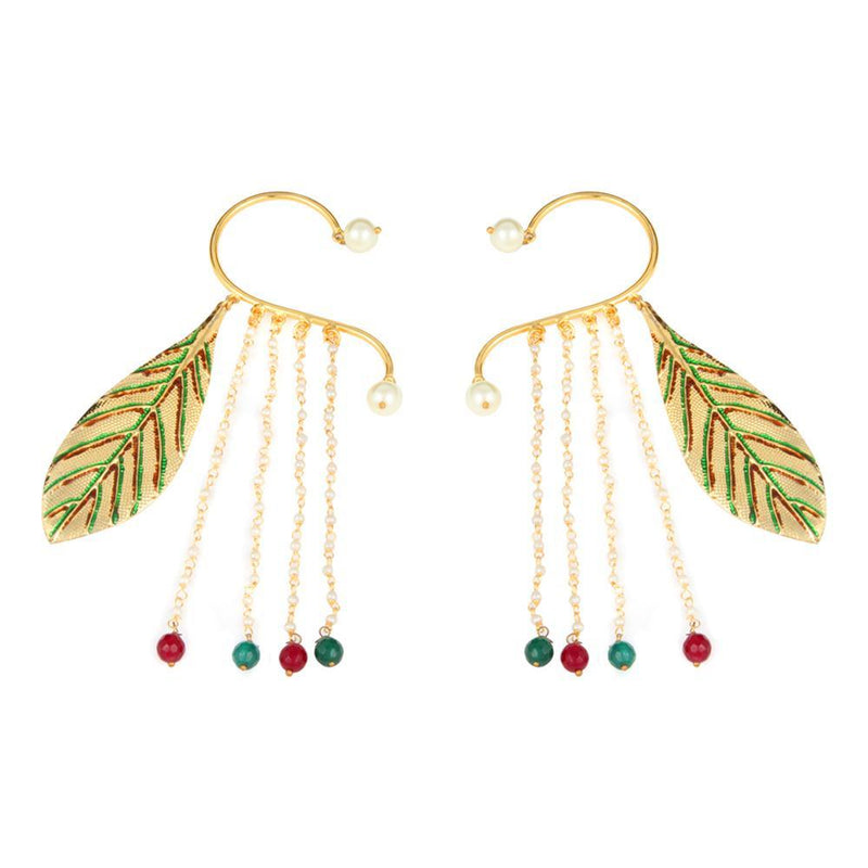 Multicolour Leaf Design Layered Earrings