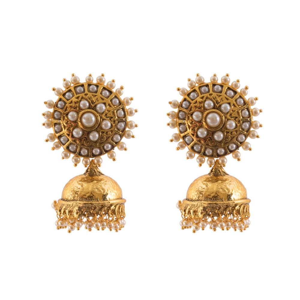 Bright gold plated dangling jhumkas