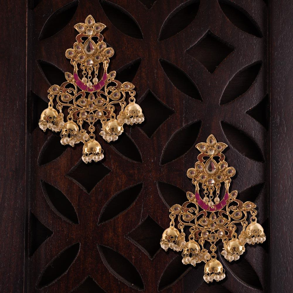 Chandbali subtle chandelier jhumkas