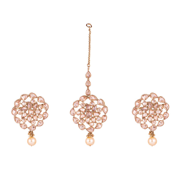 Matte Rose Stone Designer Earrings And Maang Tikka