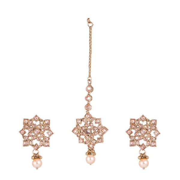 Star pattern Classy Earrings And Maang Tikka