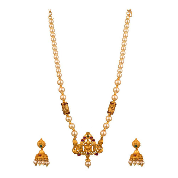 White Pearl And Gold Plated Necklace Set
