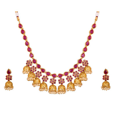 Floral Jhumka Style Antique Necklace