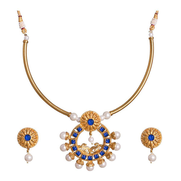 Shimmering Sapphire studded Necklace Set